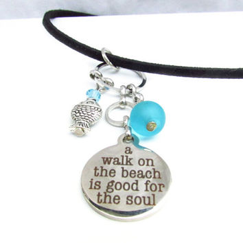 A Walk on the Beach Quote Necklace