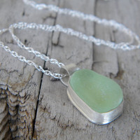 Sterling Silver Jewelry - Sea Glass Necklace - Light Seafoam Green sea glass