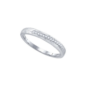 10k White Gold Round Pave-set Diamond Womens Simple 2mm Wedding Band 1/6 Cttw 77558