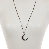 On HauteLook: | Sterling Silver Black Spinel, Pyrite, & Turquoise Crescent Necklace