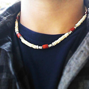 Coral and White Howlite Gems Men Necklace - New Custom Handmade Gemstone Necklace - Tribal Necklace - surfer necklace
