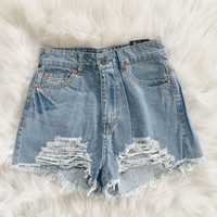 Kenzie Distressed Denim Shorts (Light Wash)