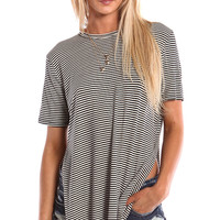 SHORT SLEEVE TUNIC WITH SIDE SLITS - STRIPED