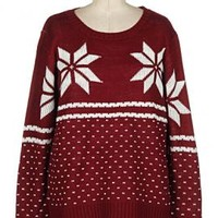 Holiday Spirit Snowflake Print Knit Sweater in Burgundy | Sincerely Sweet Boutique