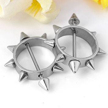 2 Pcs. Stainless Steel Round Circle Spike Nipple Ring Piercing