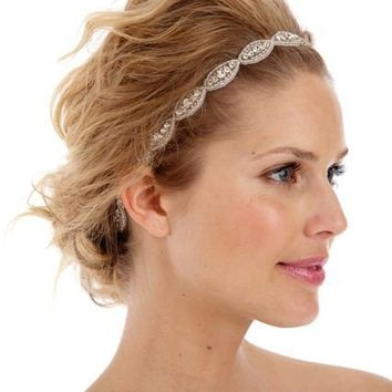 074 - BEST SELLER - Poppy Single Headband- Bridal, crystal, beaded, bohemian, tie on, wedding, headpiece
