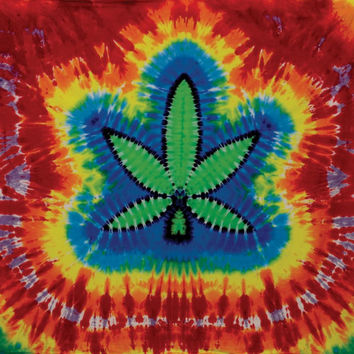 Pot Leaf Tie Dye Tapestry