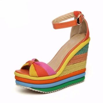 Rainbow Color Bohemia Buckle Strap Women Wedge Sandals
