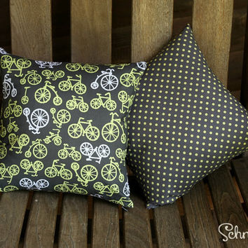 "SPECIAL OFFER!! Pair of pillow covers with Yellow Polka Dot & Bicycle print 14"" x 14"" (Inserts Not Included) for Lounge / Bedroom / Office"