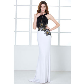 Kate Kasin White Mermaid Evening Dresses Long Formal Dress with Black Top Flower Sequins Bodycon Gown Evening Dress for Wedding