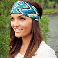 Expandable Headwrap-Fabric One (Blue, Green, and White Chevron)