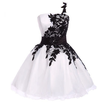 Popular White and Black High Quality Organza Lace Short Prom Dress S889