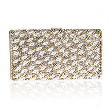 Women's New European And American Popular Evening Handbags Golden Hollow Metal Mesh Shoulder Bags Day Clutches SMYCWL-F0004