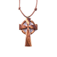 Celtic Cross Necklace, Men Cross Necklace, Celtic Cross Pendant, Celtic Wood Cross, Wood Cross Pendant, Christian Jewelry, Hand Carved Cross