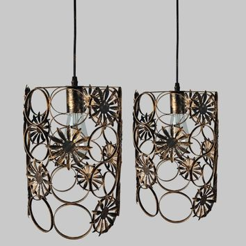YZF Loft industrial wind restaurant bar creative chandelier retro bar net coffee staircase E27 aisle birdcage wrought iron lamp