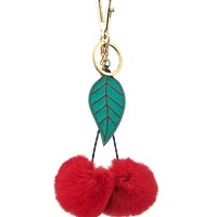 Cherry rabbit-fur bag charm