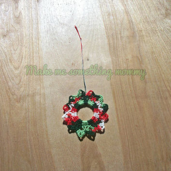 Crochet Christmas ornament. Red, green, and white acrylic Christmas wreath ornament. 25%off Christmas in July sale.