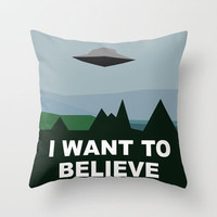 I Want To Believe minimal Throw Pillow by Bill Pyle | Society6