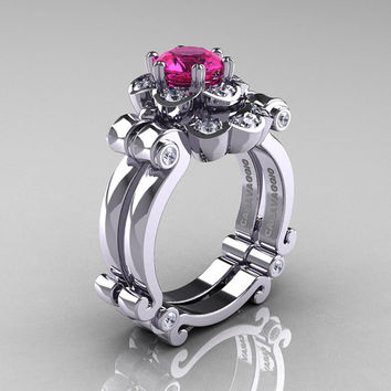 Art Masters Caravaggio 14K White Gold 1.0 Ct Pink Sapphire Diamond Engagement Ring Wedding Band Set R606S-14KWGDPS