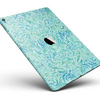 """Aqua Damask v2 Watercolor Pattern Full Body Skin for the iPad Pro (12.9"""" or 9.7"""" available)"""