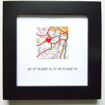 Framed Map with GPS Coordinates - 5x5 Frame - Map Coordinates - Square Map - Latitude Longitude - Engagement Gift - Gallery Wall Map Art