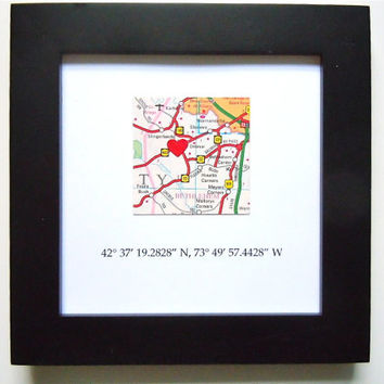 Framed Map with GPS Coordinates - 5x5 from HipLittleSquares on