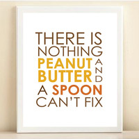 Brown, Yellow, & Orange 'Peanut Butter and a Spoon' print poster