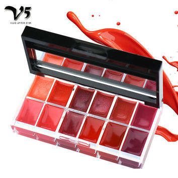 BY NANDA 12 Colors Lips Makeup Brand Girl Woman Professional Make Up Lip Gloss Lipstick Cream Palette Set Beauty Brand 25g
