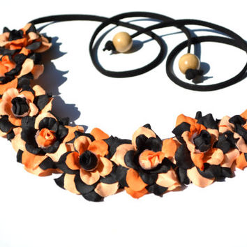 Halloween Flower Crown Black and Orange Flower Headband October Floral Crown Halloween Flower Halo Fall Floral Hippie Headpiece Costume