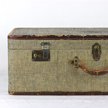 Suitcase, Vintage Suitcase, Tweed Suitcase, Old Suitcase, Luggage, Old Luggage, Brown Suitcase