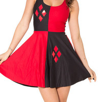 Summer Pretty Harley Quinn Print Fit Flare Jumper Dress