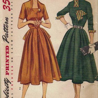 Simplicity 4115 Sewing Pattern 1950s Vintage Full Flared Skirt Swing Garden Party Tea Day Dress Hollywood Style Uncut FF Bust 34