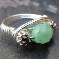 Mint Green Wire Wrapped Ring  Silver Wire by SherryKayDesigns