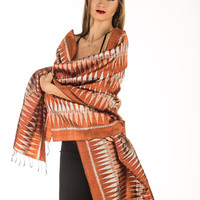 Exclusive Ikat Pure Silk Hand Woven Scarf with Vibrant Geometric Patterns and Soft Fringes - Free Shipping in US