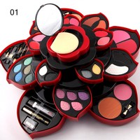 Cosmetic Set Makeup Kit Glitter Eyeshadow Palette + Blush + Powder+Matte Lipstick + Makeup Brush + Highlight + Mirror + Eyeliner