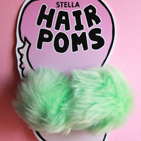 Hair Poms in Mint