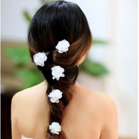6pcs Wedding Bride Fabric Flower Hair Pins. Party Prom Woman Crystal Camellia hairpins hair clip = 1929463108
