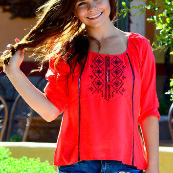 LOST IN LOVE CORAL TOP