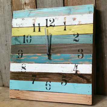 Shabby chic multi color clock cottage style home decor aged rustic bedroom wall hanging shower  birthday christmas gift beach room