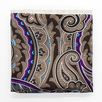 Beige Paisley Silk Pocket Square
