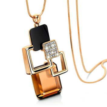 Jewelry Gift Shiny New Arrival Crystal Sweater Chain Stylish Accessory Korean Necklace [11405167503]