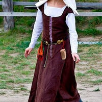Medieval Kirtle, Renaissance Linen Dress, 15th CenturyGown
