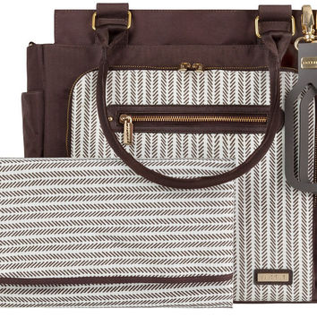 JJ Cole Freeman Baby Diaper Bag with Changing Pad - Dashed Stripe