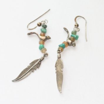 Sterling Bird and Feather Fetish Earrings Turquoise Beads Southwest Dangle Earrings