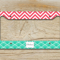 Personalized gift license plate, frame monogrammed - Tiffany blue coral chevron - name chevron car tag bicycle plate bike plate (1070)