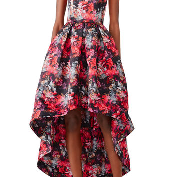 Parker Abstract High Low Gown