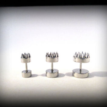 Spike earrings-faux earring-silver spike stud earring-fake ear plug-fake gauges-punk earring-gothic earring-punk earring-set of 3