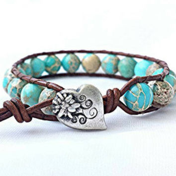 leather wrap bracelet, beaded wrap bracelet, leather bracelet, gemstone leather wrap bracelet, blue bracelet, sea sediment jasper bracelet