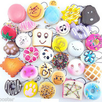 12PCS Mini Random Squishy Soft Panda/Bread/Donut/Buns/Macaroon Phone Straps Kit