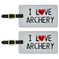 I Love Archery Written on Paper Luggage Tag Set
